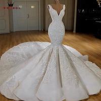 Robe De Mariee 2019 White Ivory Sexy Mermaid Wedding Dress Vestidos De Novias Floor Length Lace Tulle Wedding Gown HC108