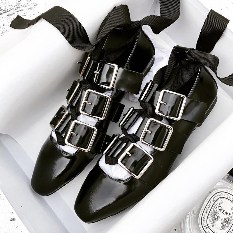 Ballet Femme Sexy Dentelle Carré Orteil Boucles Zapatos Femmes Mocassins En Show Croix As Appartements Mujer Bretelles Chaussures D'été Souple Up Cuir wqfnB6Uz