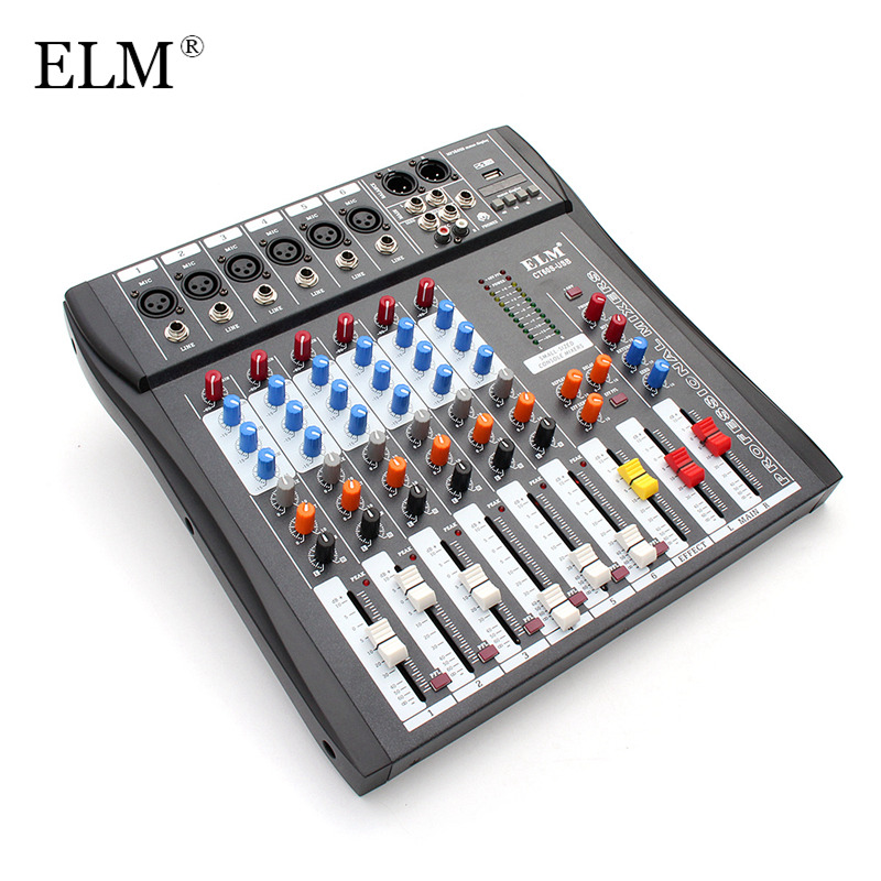 ELM Professional 6 Channel Karaoke Audio Mixing Mixer Digital Microphone Sound Amplifier Console 48V Phantom Power With USB mini portable audio mixer with usb dj sound mixing console mp3 jack 4 channel karaoke 48v amplifier for karaoke ktv match party