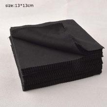 100 sztuk 13x13cm czarny etiu na okulary przeciwsłoneczne z mikrowłókna tkaniny do czytania szkła do okularów Cleaner tkaniny do etui na okulary okulary