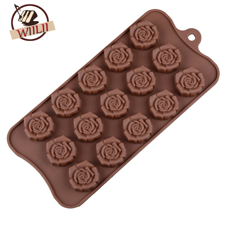 1PCS Silicone 15 Rose Flower Shape Chocolate Mold For Candy Fondant Ice Cube Tray DIY Ba ...