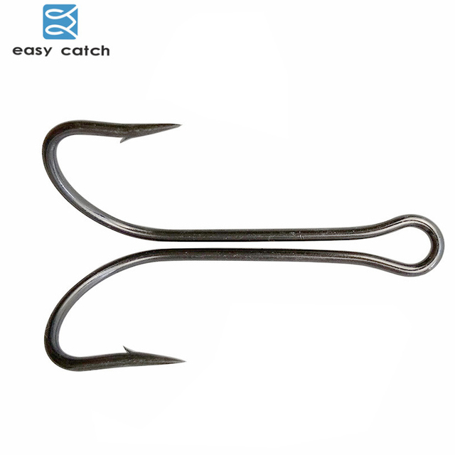 Easy Catch 20pcs/lot Carbon Steel Fishing Hooks Crank Hook Fly Tying Double Hook For Bass Lure Fishing Accessories