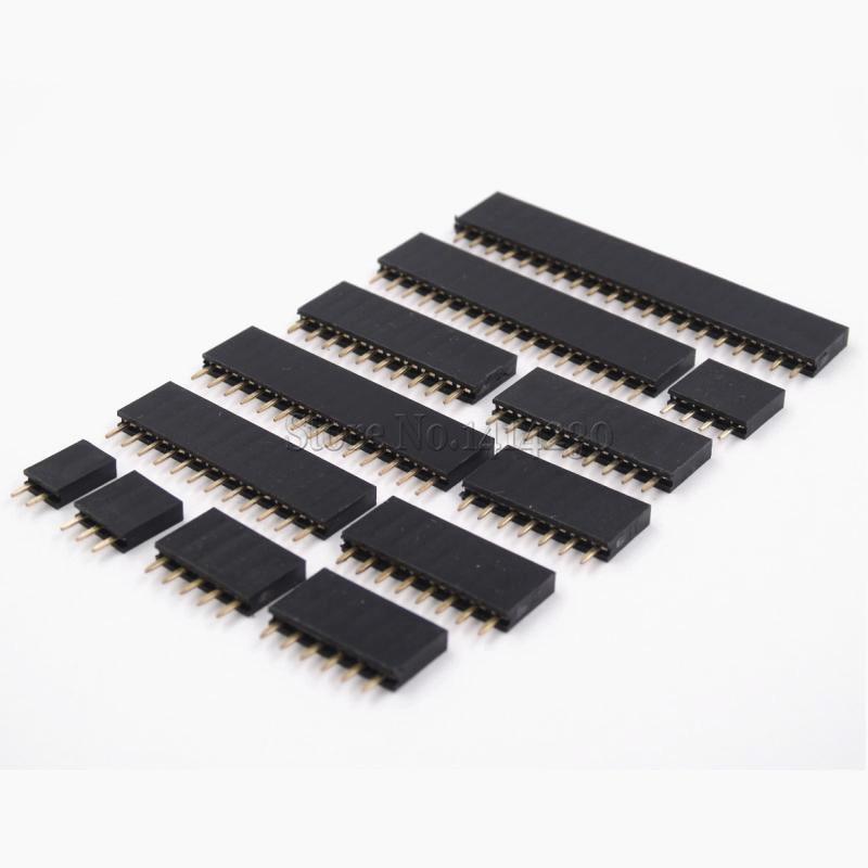 10PCS Single Row Pin Female Header Socket Pitch 2.54mm 1*2p 3p 4p 5p 6p 7p 8p 9p 10p 12p 14p 16p 20p 40p Pin Connector