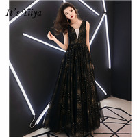 It's YiiYa Long Dresses Black Sequin Tulle Sleeveless V neck Prom Dress Women Party Night Vestidos de Gala Plus Size 2019 E461