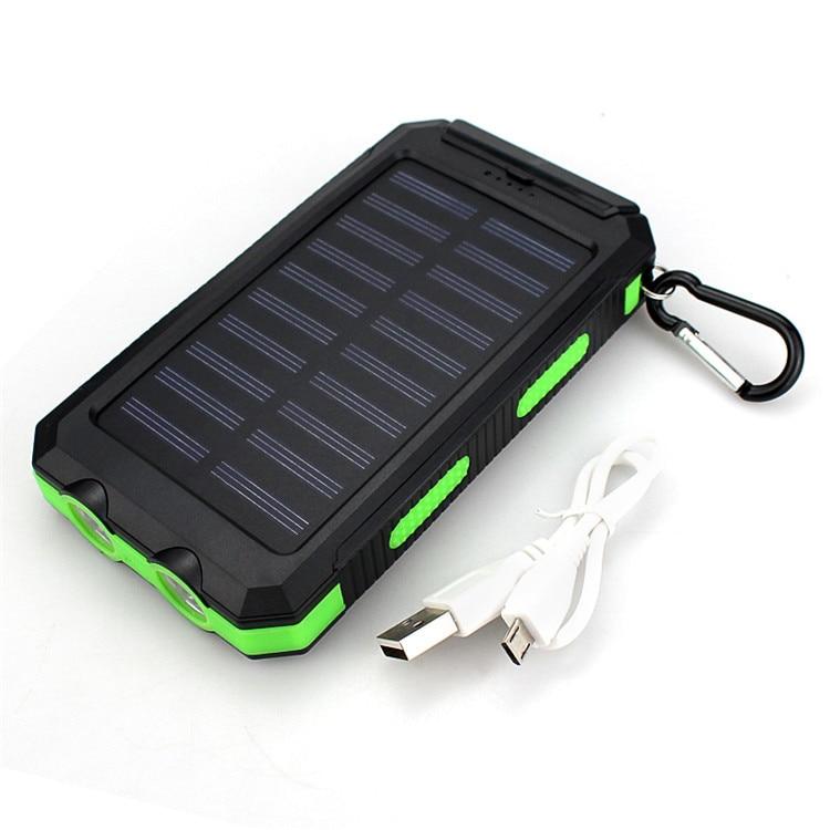 Top Waterproof Solar Power Bank 20000mah Dual USB Li-Polymer Battery for iPhone XR/XS/XS Max Xiao mi huawei vivo Samsung цена 2017