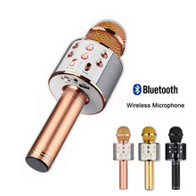 Bluetooth Wireless Microphone WS-858 Handheld Karaoke Mic USB KTV Player Bluetooth Speaker Record Music Microphones WS858 цена и фото