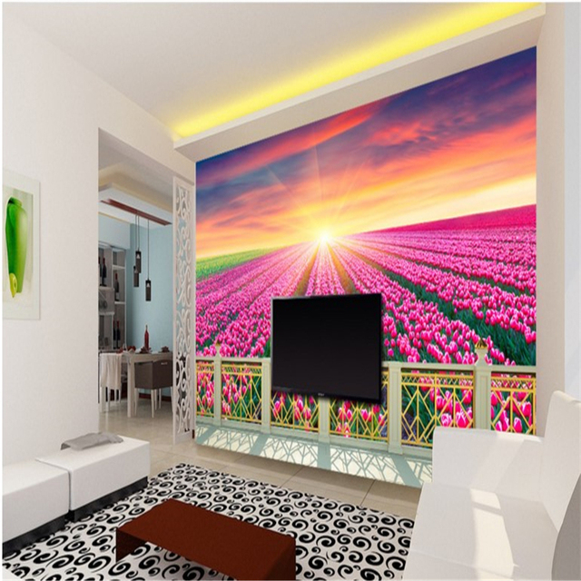 beibehang Large custom wallpapers aesthetic balcony flowers 3D ...