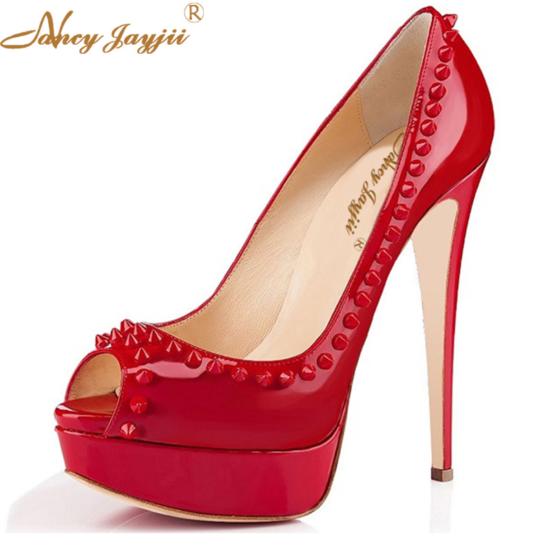 Red Rivet Black Blue Super Platform Patent Leather Peep Toe High Heels Pumps Evening Wedding Fetish Shoes Woman Nancyjayjii Size new touch screen for 7 dexp ursus a370i tablet touch panel digitizer glass sensor replacement free shipping