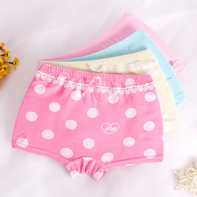 eed0f1cca7 US $10.12 41% OFF|Full Cotton Girls Underwear 4Pcs Boxers Dot Girls  Underpants Bottoms Girl's Clothes for 3 4 6 8 10 12 Years Old RKU173002-in  Panties ...