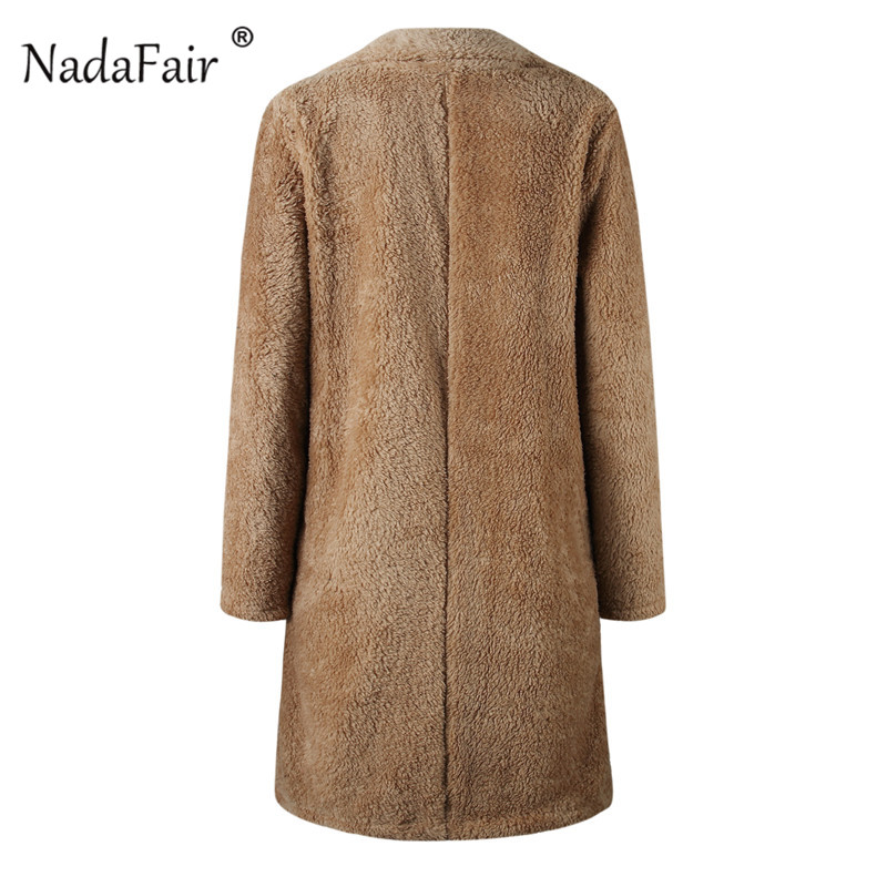 d961a81c376 Nadafair Shaggy Long Fur Coat Women Autumn Spring Fluffy Teddy Coat ...