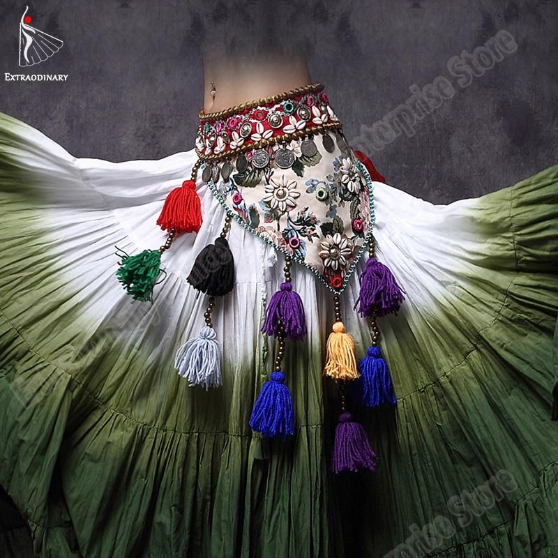 New ATS Women Belly Dance Hip Wrap Gypsy Tribal Hip Scarf Adjustable Belt Triangular Bellydance Stage Performance Costume