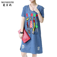 2017 New Summer Women Fashion Casual Loose Denim Dresses V Neck Short Sleeve Character Print Letter