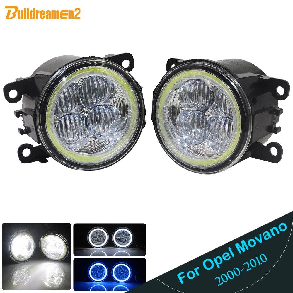 Buildreamen2 For Opel Movano 2000 2010 Car Styling H11 4000LM LED Bulb Fog Light Angel Eye DRL Daytime Running Light 12V