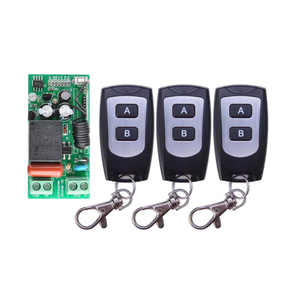 Receiver Transmitter AC 220V 1CH 10A Wireless Remote Control Switch System 2 Button 3PCS Waterproof Remote receiver