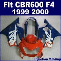 Plástico ABS de la Motocicleta calle Inyección kit carenado para HONDA CBR600 F4 1999 2000 fairngs CBR600F F4 CBR 99 00 600 azul rojo kit