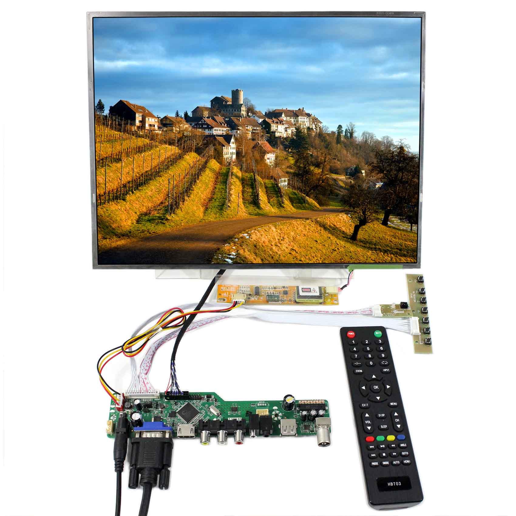 30pins LVDS Connector QD15XL06 1024X768 Resolution LP150X09 HDMI VGA AV USB RF LCD Controller Board B150XG03 15inch LCD Screen