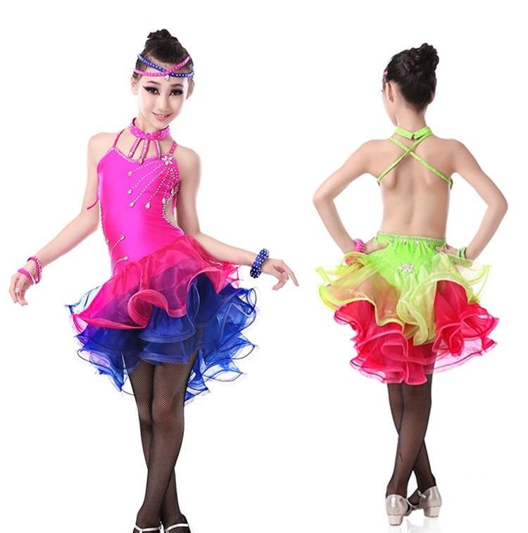 Nouveaux enfants dos ouvert Cocktail Latin robes de salon enfants Salsa Latine Performance robes Sexy danse Latine pour les filles