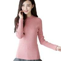 Mercerized cotton Turtleneck Shirt elastic semi soft slim slim knit sweater thickened female age