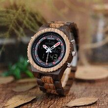 Atacado bobo pássaro luz relógio masculino de aço inoxidável coroa fivela dupla exibição relógios de madeira masculino alarme moda reloj hombre