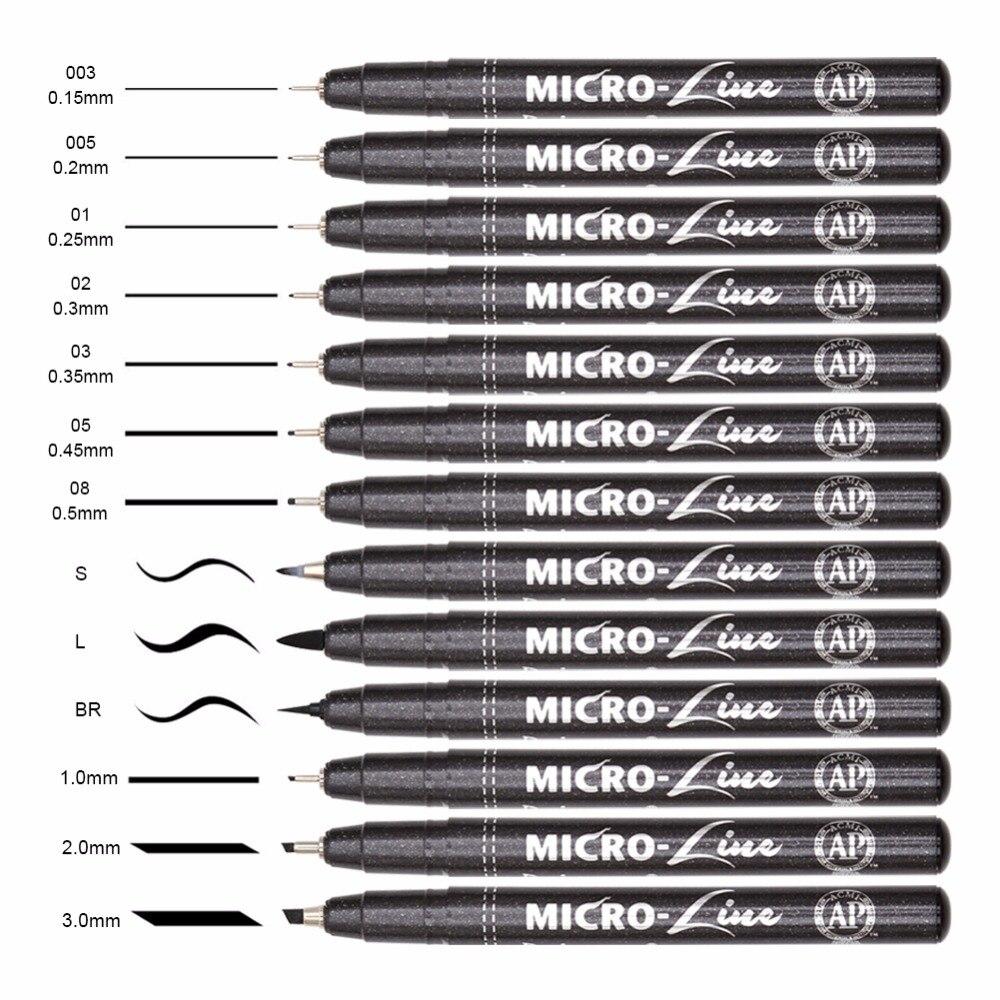 Premium 13 piezas micras Neelde línea de dibujo pluma mano letras plumas impermeable pigmento dibujo marcadores de la pluma para el diseño de arte
