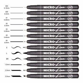 Wysokiej jakości 13 sztuk mikronów Neelde rysowanie linii pióro ręcznie długopisy wodoodporny Pigment szkic markery pióra do projekt dostaw sztuki