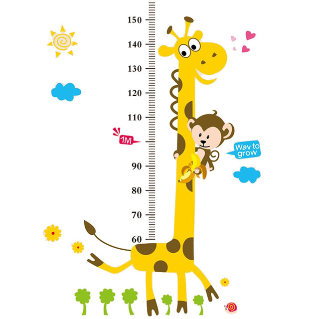 Animal Cartoon Giraffe Monkey Children Height Measuring Vinyl Wall Stickers For Kids Rooms Home Decor Living Sofa Wall Sticker