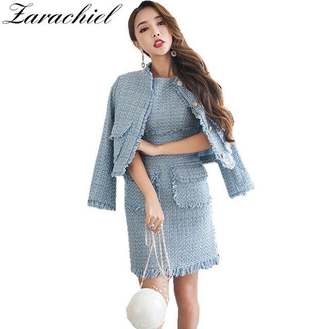 7b7737fbf Zarachiel Tweed Pista de Fring Borla 2 Unidades Set Vestido de Invierno  Mujer Elegante Chaqueta Corta