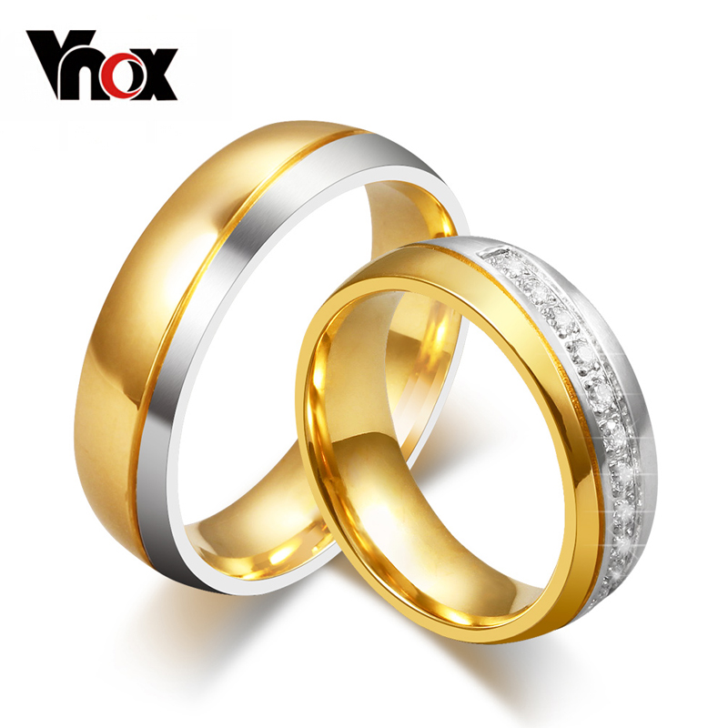 vnox wedding ring for women men gold color love engagement couple stainless steel us size in rings from jewelry accessories on aliexpresscom alibaba - Rings For Wedding