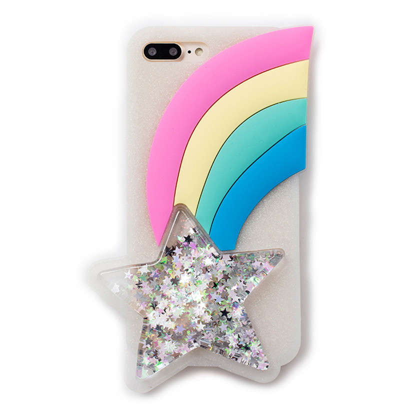 Ritozcase Glitter 3D Rainbow Star Soft Silicone Case for iPhone 8 8plus 6 6S plus 7 7Plus newest hot sale back cover shell