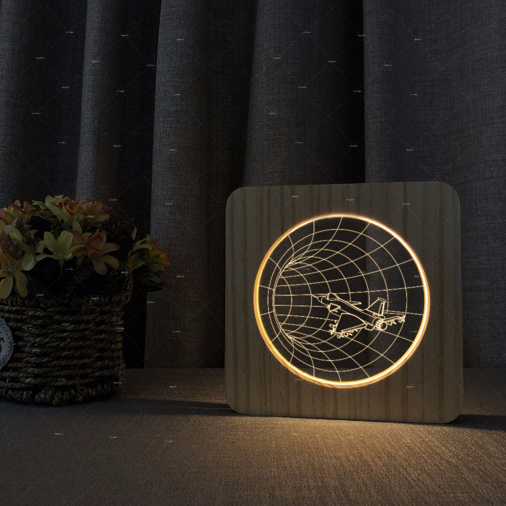 plane went through time tunnel design wooden acrylic night lights warm white lighting gifts room decor student dorm nightstand through time london