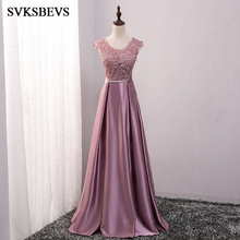 Фотография SVKSBEVS 2017 New A Line O Neck Embroidery Long Bridesmaid Dresses Crystals Bowknot Sash Sleeveless Wedding Party Prom Gowns