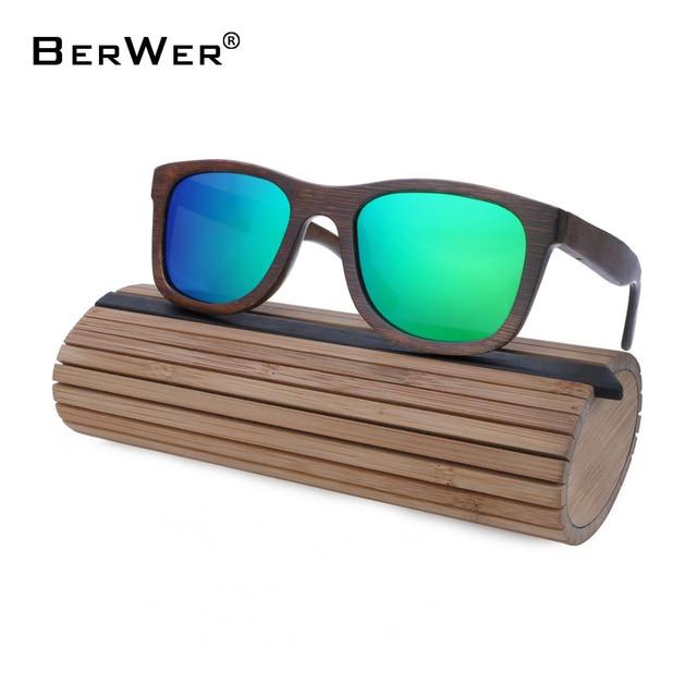 e84185d27e36f BerWer Wooden Sunglasses For Women Fashion Brand Designer UV400 Mirror Lenses  Bamboo Sunglasses for Men 2018 New Arrival