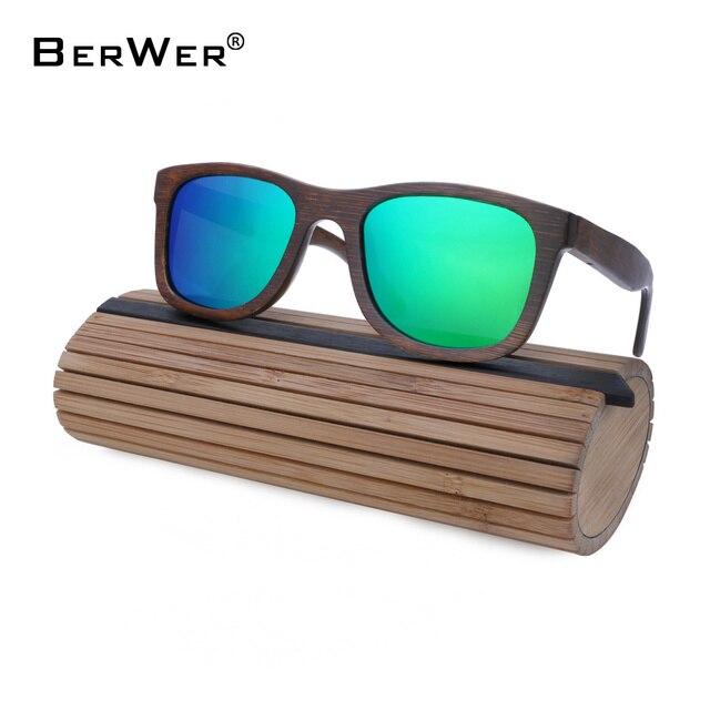 3a7309ea6bea4 BerWer Wooden Sunglasses For Women Fashion Brand Designer UV400 Mirror Lenses  Bamboo Sunglasses for Men 2018 New Arrival