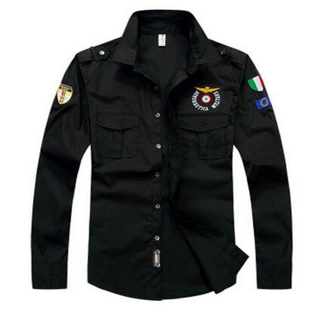 Camisa de vestir de la delincuencia MA1 negro sólido blanco camisa de manga larga camisa masculina verano camisa Masculina de estilo