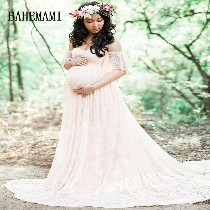 BAHEMAMI Maternity Photography Props Maxi Maternity Gown Lace Dresses Maternity Dress Fancy Shooting Photo Pregnant Clothes