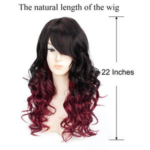 Image 5 - Long Wavy Red Black Hair Mix Color Women Wigs Heat Resistant Synthetic wigs with bangs for Women African American Natural Hair