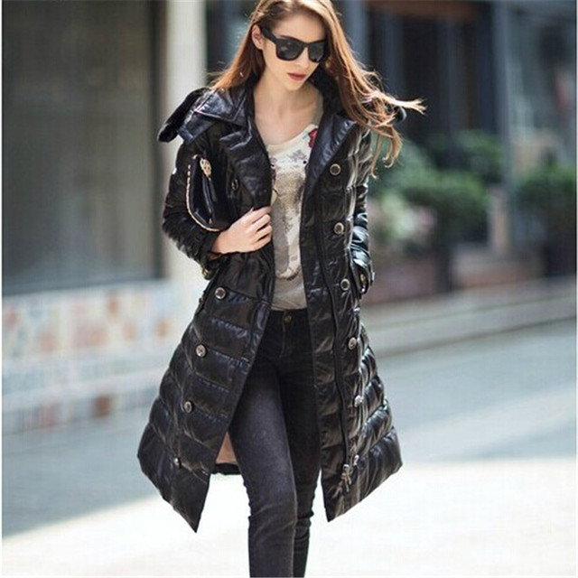 589f4cf7c US $298.0 |Luxury brand women's hooded long leather down coat with belt  black sheepskin genuine leather jacket/trench winter outerwear lady-in  Parkas ...