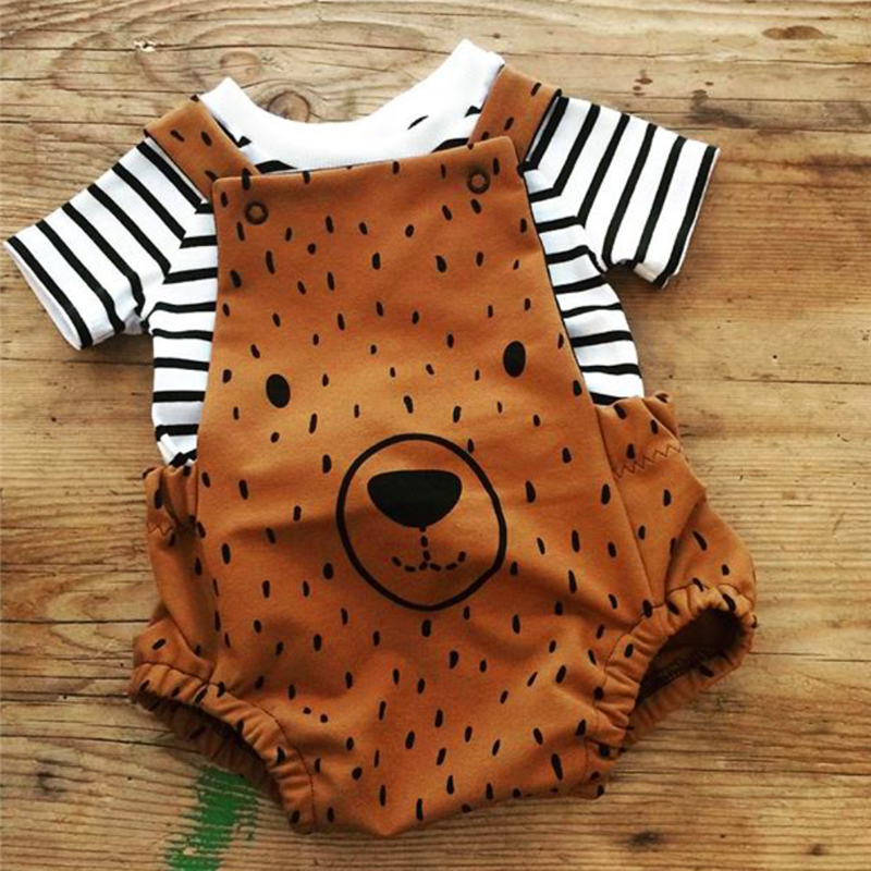 0-3T Newborn Kid Baby Boy Girl Clothes Set Cute Bear Cartoon Sunsuit Stripe T-shirt Top And Bib Pants Overalls Cotton Outfits