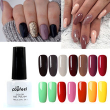 Popfeel 7ML 33 Colors UV Gel Varnish Nail Polish Set Soak Off Enamel Nail Gel Polish Semi Permanent Hybrid Nails Art Manicure(China)