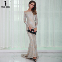 Missord 2017 Sexy O Neck Long Sleeve Women Casual Dresses Glitter Maxi Party Dress FT8526