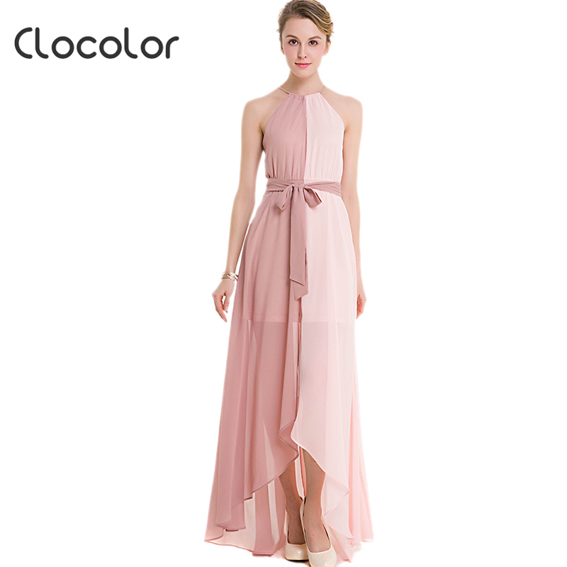 Clocolor mujeres maxi dress breve rosa sin mangas sashes asimétrico ...