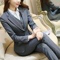 Формальные Дамы Офис ПР Единая Дизайн Женщины элегантный Темно-Бизнес серый брючный костюм Рабочая Одежда Куртка с Брюками 2 шт. наборы