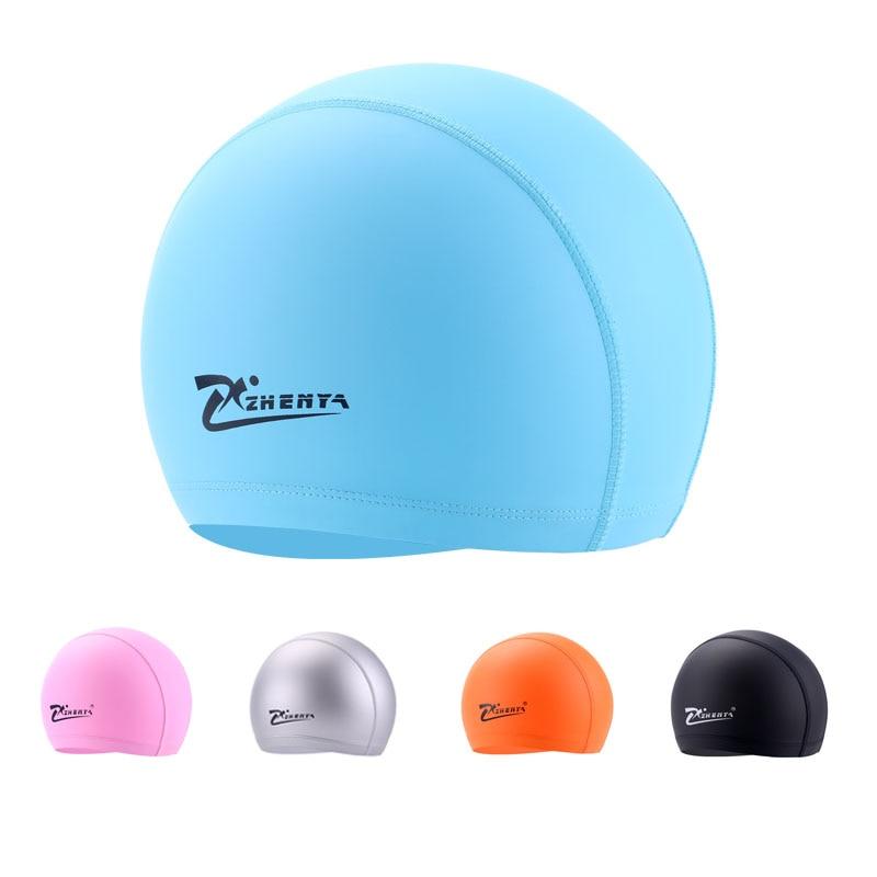 ผู้ใหญ่ว่ายน้ำหมวก U Nisex PU กันน้ำว่ายน้ำหมวกผมยาวว่ายน้ำหมวกป้องกันหูที่มีความยืดหยุ่นที่มีสีสันหมวกว่ายน้ำ