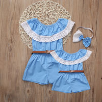 Mommy Me Women Baby Girls Off Shoulder Lace Collar Jumpsuit Playsuit Romper Belt Family March Clothes
