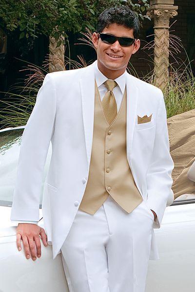Golden Vest White Best Men Tuxedos For Summer Beach Wedding Groomsman Suits Masculino Ternos (Jacket +Pants+Vest+Tie)