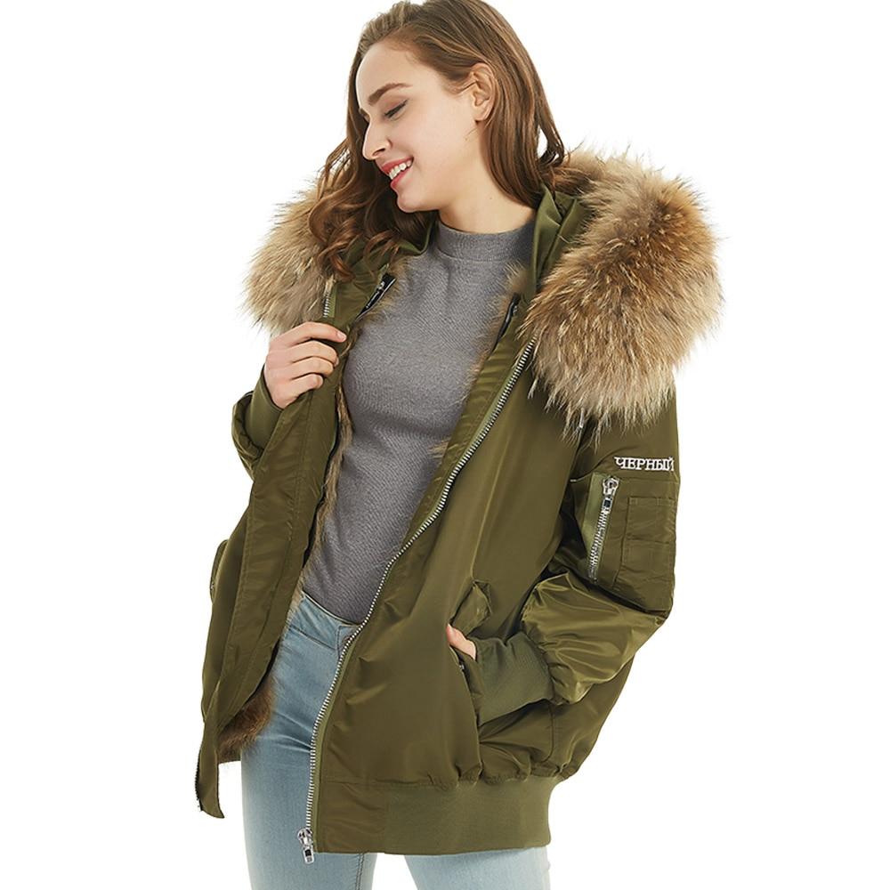 Maomaokong new fashion women's clothing Natural raccoon fur big collar Raccoon lining Female winter jacket park embroidery coat