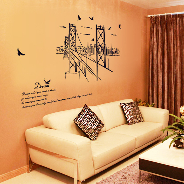 Black San Francisco Golden Gate Bridge Wall Sticker Home Decor Sofa  Background Poster Decor Apartment Wallpaper