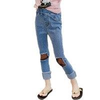girl jeans pants 2018 fashion summer new net hole jeans children long trousers girls mesh casual pants kids slim pencil pants