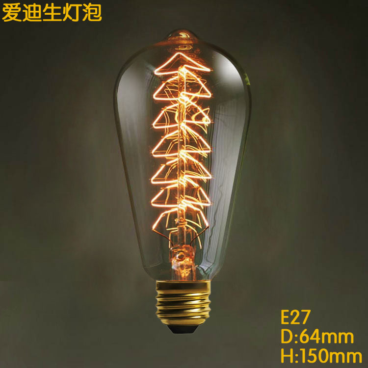3 pcs together ST64 Christmas tree Spraying Incandescent E27 Filament Edison Carbon Bulb Retro Edison Light For Pendant Lamp