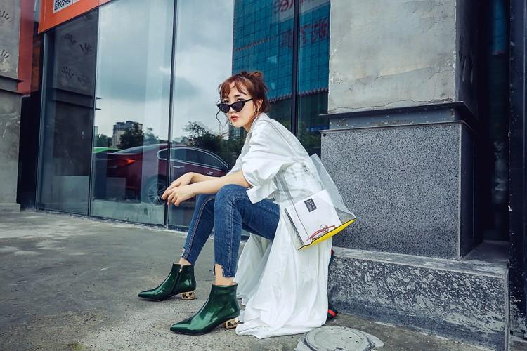 Cuir Brun S7 Bottes Automne Pointu Hiver Chaussures Zipper Femmes Vert En Bout Verni De Med Talon Cheville rxoEBCeWQd
